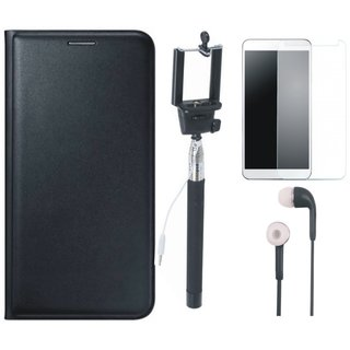 Samsung J8 Leather Flip Cover with Free Selfie Stick, Tempered Glass and Earphones (Black) by Vivacious