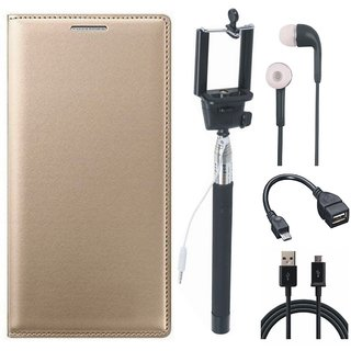 Samsung J6 Flip Cover with Selfie Stick, Earphones, OTG Cable and USB Cable by Vivacious ( Gold )