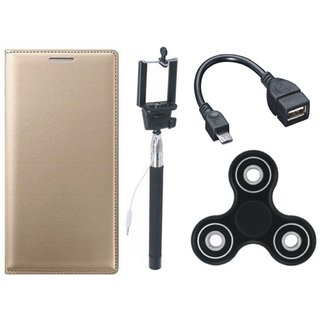 Samsung J6 Stylish Leather Cover with Spinner, Selfie Stick and OTG Cable by Vivacious ( Gold )