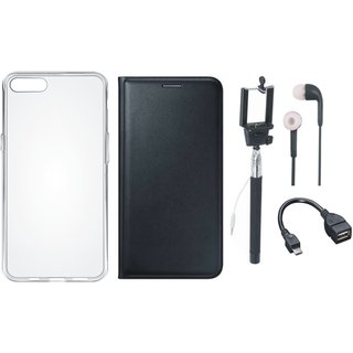 Samsung J6 Premium Leather Cover with Silicon Back Cover, Selfie Stick, Earphones and OTG Cable by Vivacious ( Black )