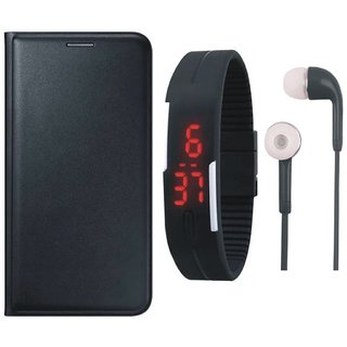 Samsung J8 Stylish Leather Cover with Digital Watch and Earphones by Vivacious ( Black )