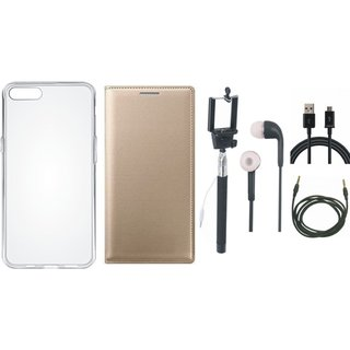 Samsung J8 Premium Leather Cover with Silicon Back Cover, Selfie Stick, Earphones, USB Cable and AUX Cable by Vivacious ( Gold )
