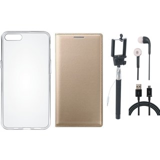Samsung J8 Stylish Leather Cover with Silicon Back Cover, Selfie Stick, Earphones and USB Cable by Vivacious ( Gold )