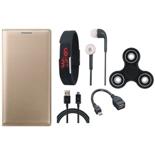 Samsung J8 Cover with Spinner, Digital Watch, Earphones, OTG Cable and USB Cable (Gold ) by Vivacious