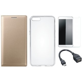 Samsung J6 Premium Leather Cover with Silicon Back Cover, Tempered Glass and OTG Cable by Vivacious ( Gold )