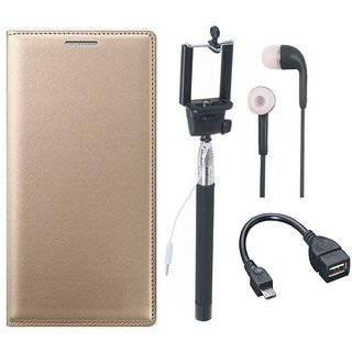 Samsung J4 Flip Cover with Selfie Stick, Earphones and OTG Cable by Vivacious ( Gold )
