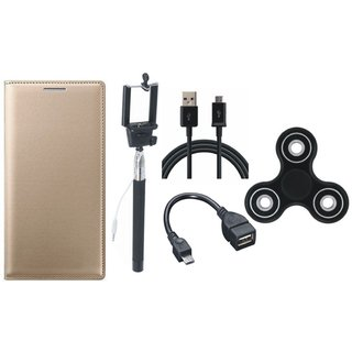 Samsung J8 Stylish Leather Cover with Spinner, Selfie Stick, OTG Cable and USB Cable by Vivacious ( Gold )
