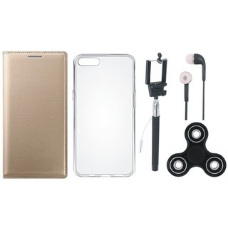 Samsung J8 Premium Leather Cover with Spinner, Silicon Back Cover, Selfie Stick and Earphones (Gold ) by Vivacious