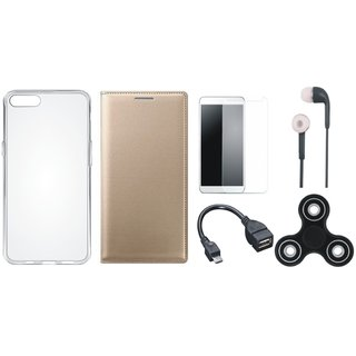 Samsung J6 Flip Cover with Spinner, Silicon Back Cover, Tempered Glass, Earphones and OTG Cable by Vivacious ( Gold )