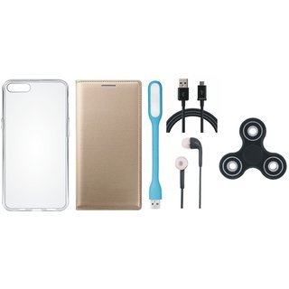 Samsung J2 Core Premium Leather Cover with Spinner, Silicon Back Cover, Earphones, USB LED Light and USB Cable by Vivacious ( Gold )