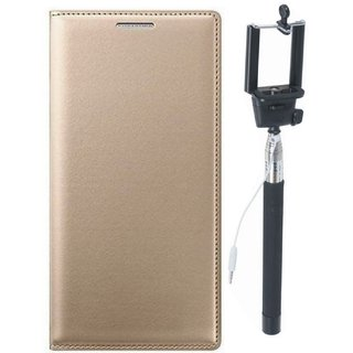 Samsung J4 Leather Flip Cover with Free Silicon Back Cover and Selfie Stick (Gold ) by Vivacious