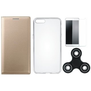 Samsung J6 Stylish Leather Cover with Spinner, Silicon Back Cover, Tempered Glass by Vivacious ( Gold )