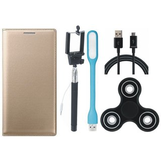 Samsung J8 Stylish Leather Cover with Spinner, Selfie Stick, USB LED Light and USB Cable by Vivacious ( Gold )