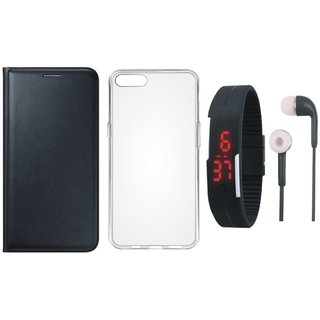 Samsung J8 Stylish Leather Cover with Silicon Back Cover, Digital Watch and Earphones by Vivacious ( Black )