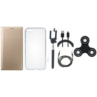Samsung J4 Flip Cover with Spinner, Silicon Back Cover, Selfie Stick, USB Cable and AUX Cable by Vivacious ( Gold )