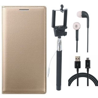 Samsung J8 Flip Cover with Selfie Stick, Earphones and USB Cable by Vivacious ( Gold )
