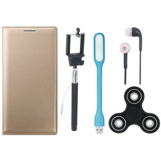 Samsung J8 Stylish Leather Cover with Spinner, Selfie Stick, Earphones and USB LED Light by Vivacious ( Gold )