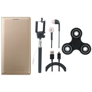 Samsung J8 Stylish Leather Cover with Spinner, Selfie Stick, Earphones and USB Cable by Vivacious ( Gold )