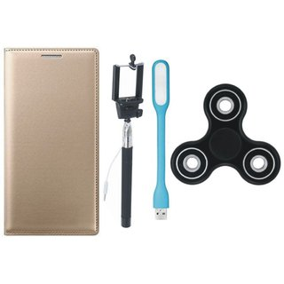 Samsung J8 Premium Leather Cover with Spinner, Selfie Stick and USB LED Light by Vivacious ( Gold )