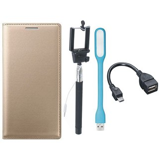 Samsung J4 Leather Flip Cover with Selfie Stick, LED Light and OTG Cable (Gold ) by Vivacious