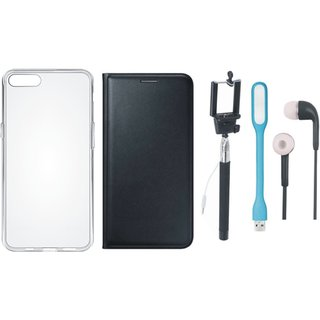 Samsung J8 Flip Cover with Silicon Back Cover, Selfie Stick, Earphones and USB LED Light (Black) by Vivacious
