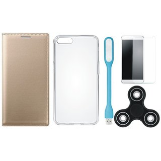 Samsung J8 Flip Cover with Spinner, Silicon Back Cover, Tempered Glas and USB LED Light by Vivacious ( Gold )