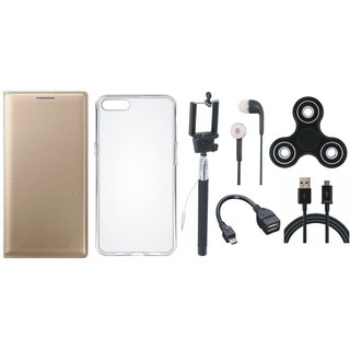 Samsung J8 Premium Leather Cover with Spinner, Silicon Back Cover, Selfie Stick, Earphones, OTG Cable and USB Cable (Gold ) by Vivacious