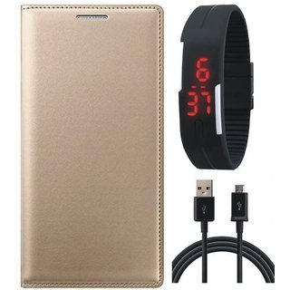 Samsung J4 Flip Cover with Digital Watch and USB Cable by Vivacious ( Gold )