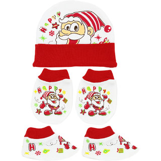 Neska Moda Baby Red Mittens  Booties with Cap Set 3 Pcs Combo  0 To 6 Months MT68