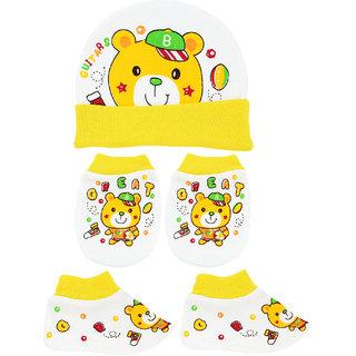 Neska Moda Baby Yellow Mittens  Booties with Cap Set 3 Pcs Combo  0 To 6 Months MT69