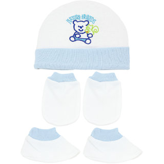 Neska Moda Baby Blue Mittens  Booties with Cap Set 3 Pcs Combo  0 To 6 Months MT77