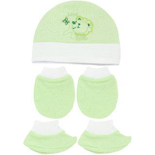 Neska Moda Baby Green Mittens  Booties with Cap Set 3 Pcs Combo  0 To 6 Months MT84