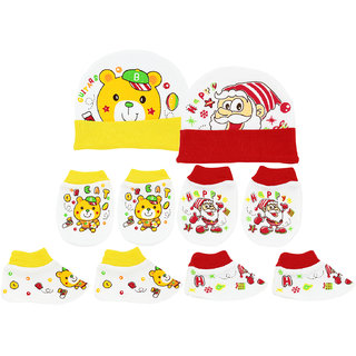 Neska Moda Baby Red and Yellow Mittens  Booties with Cap Set 6 Pcs Combo  0 To 6 Months