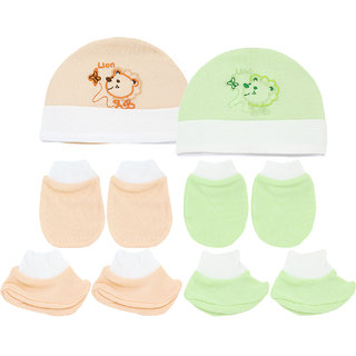 Neska Moda Baby Green and Orange Mittens  Booties with Cap Set 6 Pcs Combo  0 To 6 Months