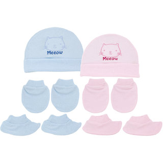 Neska Moda Baby Pink and Blue Mittens  Booties with Cap Set 6 Pcs Combo  0 To 6 Months