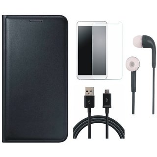 Samsung J8 Flip Cover with Earphones, Tempered Glass and USB Cable (Black) by Vivacious