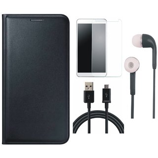 Samsung J4 Flip Cover with Tempered Glass, Earphones and USB Cable (Black) by Vivacious