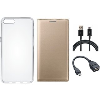 Samsung J8 Flip Cover with Silicon Back Cover, OTG Cable and USB Cable by Vivacious ( Gold )