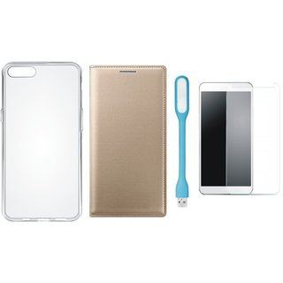 Samsung J4 Flip Cover with Silicon Back Cover, Tempered Glas and USB LED Light by Vivacious ( Gold )