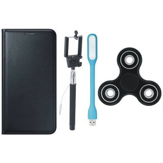 Samsung J2 Core Cover with Spinner, Selfie Stick and USB LED Light (Black) by Vivacious