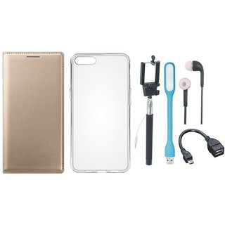 Samsung J2 Core Leather Flip Cover with Silicon Back Cover, Selfie Stick, Earphones, OTG Cable and USB LED Light (Gold ) by Vivacious