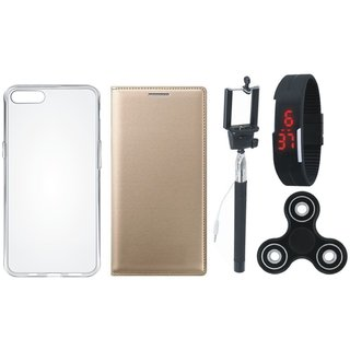 Samsung J6 Stylish Leather Cover with Spinner, Silicon Back Cover, Selfie Stick and Digtal Watch by Vivacious ( Gold )