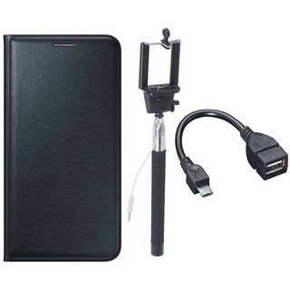 Samsung J8 Premium Leather Cover with Selfie Stick and OTG Cable by Vivacious ( Black )