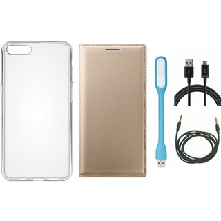 Samsung J4 Leather Flip Cover with Silicon Back Cover, USB LED Light, USB Cable and AUX Cable (Gold ) by Vivacious