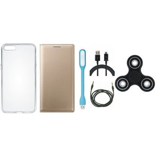 Samsung J8 Premium Leather Cover with Spinner, Silicon Back Cover, USB LED Light, USB Cable and AUX Cable by Vivacious ( Gold )