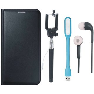 Samsung J4 Premium Leather Cover with Selfie Stick, Earphones and USB LED Light by Vivacious ( Black )
