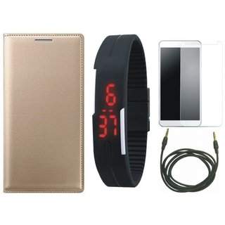 Samsung J2 Core Flip Cover with Free Digital LED Watch, Tempered Glass and AUX Cable by Vivacious ( Gold )