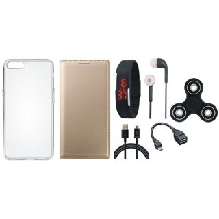 Samsung J2 Core Flip Cover with Spinner, Silicon Back Cover, Digital Watch, Earphones, OTG Cable and USB Cable by Vivacious ( Gold )