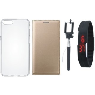 Samsung J2 Core Premium Leather Cover with Silicon Back Cover, Selfie Stick and Digtal Watch by Vivacious ( Gold )