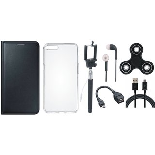Samsung J4 Stylish Leather Cover with Spinner, Silicon Back Cover, Selfie Stick, Earphones, OTG Cable and USB Cable by Vivacious ( Black )